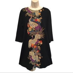 Renee C Black Knit Dress Asian Cranes Birds Floral